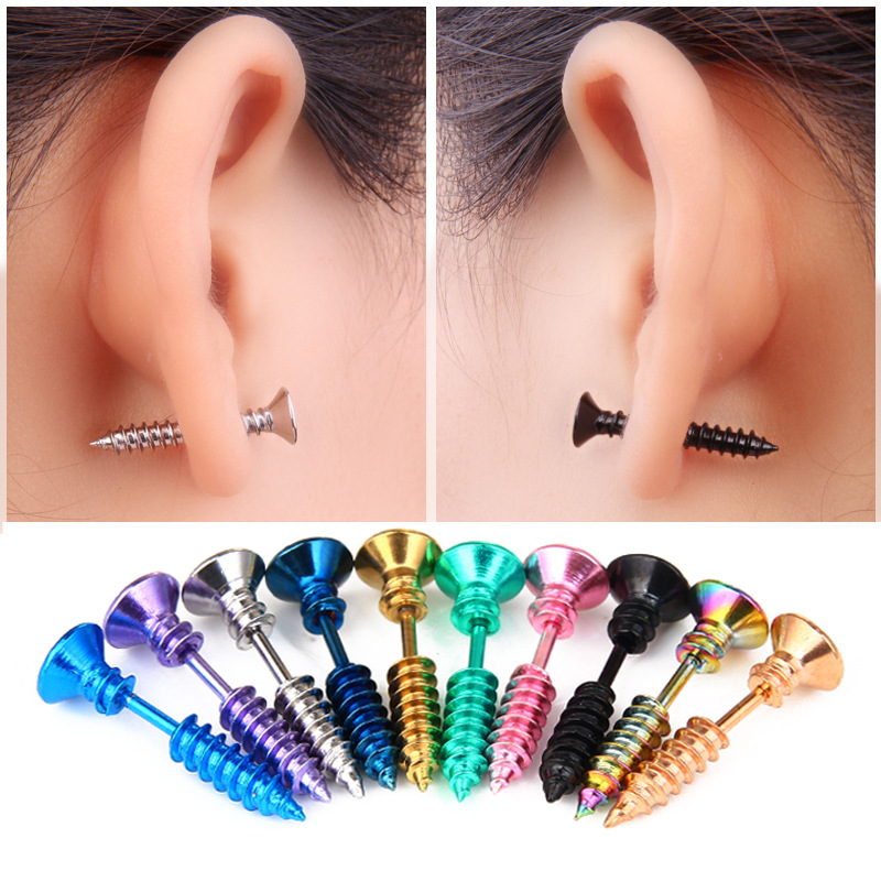 2019 Screw Stud Earring <font><b>bts</b></font> accessory Spike Fashion korean Titanium helix Earring Girl Boy Earring bijoux Body Jewelry image