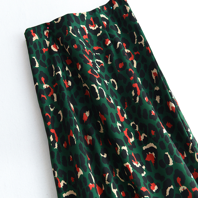 2020 Colorful Leopard Print Long Skirt Fashion Women Ladies Green High Waist Split A-line Maxi Skirt Female 3