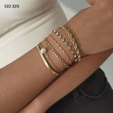 SHIXIN 6 Pcs Layered Pearl Crystal Chains Bracelets Set for Women Charms Trendy Hand