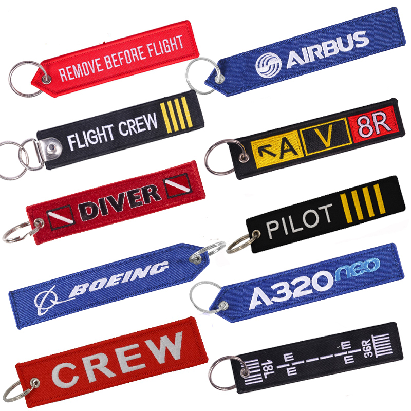 Remove Before Flight Keychain For Aviation Gifts Motorcycle Embroidery OEM Key Chain Keyring Crew Key Fob Key Tags Label Llavero