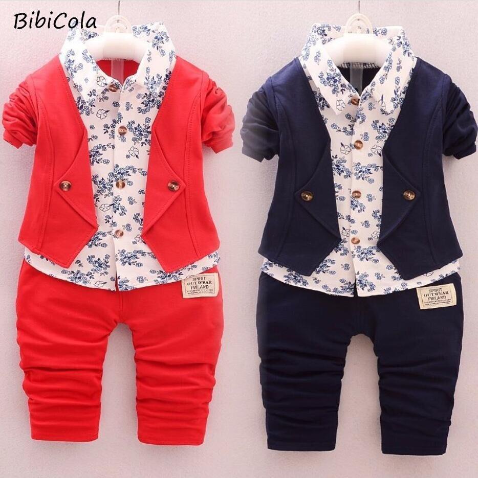 BibiCola Spring Autumn Children Clothing Set New Kids Clothes Baby Boys Shirt Fake Clothes Sport Suit Kids Boys Outfits Suit