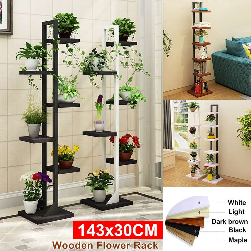 143x30CM Multi-Tier Wooden Plant Stand Flower Pot Shelf Bonsai Display Outdoor Indoor Storage Rack Holder for Bedroom Livingroom