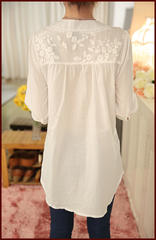 Lace Plus Size Embroidered Blouse