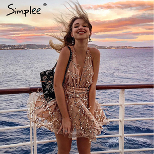 Image 2 - Simplee Deep v neck sequined sexy mesh women playsuit elegant Backless lining ladies short jumpsuit High wasit tassel overalls