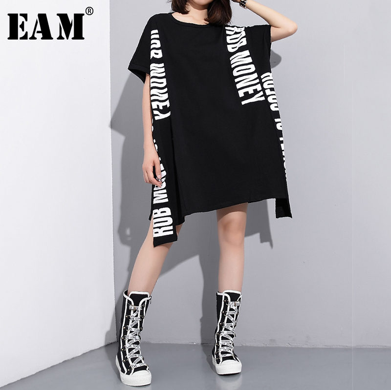 [EAM] Women Black Letter Printed Mesh Big Size T-shirt New Round Neck Short Sleeve  Fashion Tide  Spring Summer 2020 JQ971
