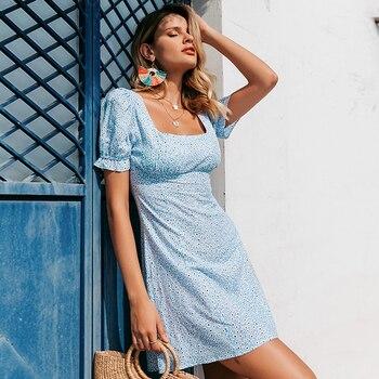 Vestido casual vintage verano cuello cuadrado flores 3