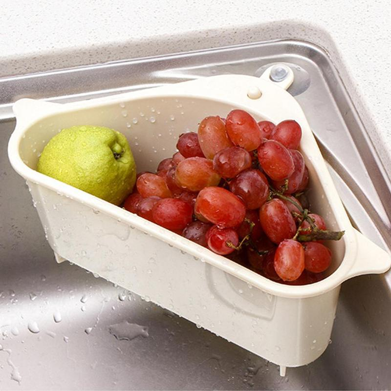 Sink Drain Rack  Hanging Storage Box Vegetable Rack Punch-free Tray Plastic Dish Rack Retractable Vegetables