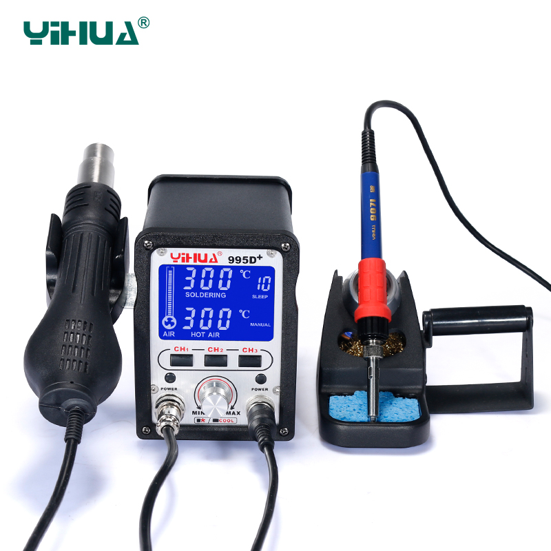 Free Shipping Large LCD Display YIHUA 995D+ Iron Soldering Station With Air Gun Soldering Station For Solder