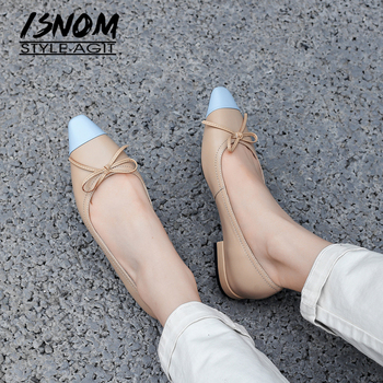 ISNOM Color Matching Flats Bowtie Leather Boat Shoes Sweet Womoen Spring Summer Flat Shoes