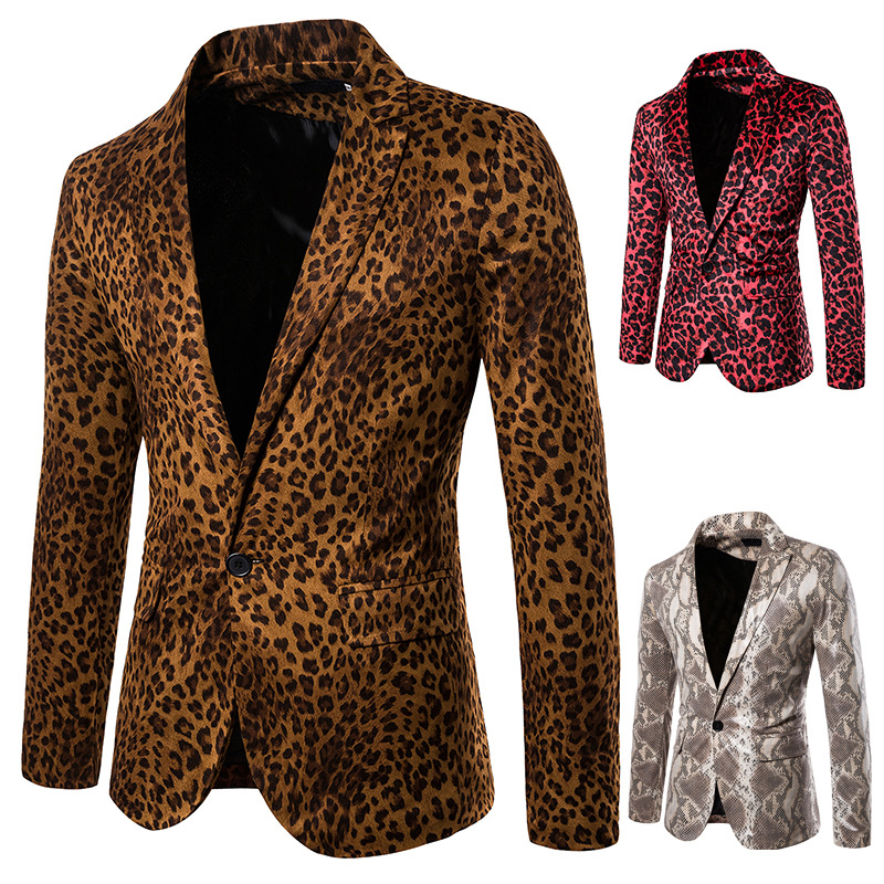 The New Man Fall 2019 Fashion Suits Leopard Snake Performance Hosted MC Studio Printing A Single Suit