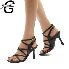 GENSHUO Summer Women Pumps Sexy Gladiator High Heel Sandals Shoes Women Thin High Heels Open Toe Sandal Ankle Strap Lady Shoes dorisfanny open toe thin heel women s sandals 2017 summer gladiator woman shoes sexy high heels sandals us size 3 5 14