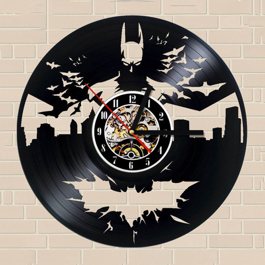 Batman Wall Clock Vintage Modern Design Living Room Decoration Classic Vinyl Clocks Wall Watch Home Decor 12 Inch Silent 12 Inch