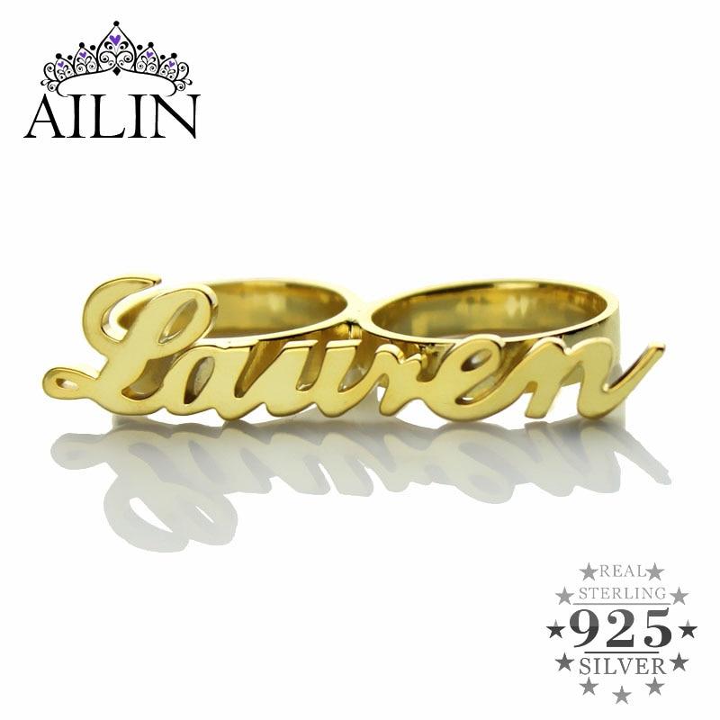 AILIN personnalisé Carrie Style 2 doigt couleur or nom anneaux Couples nom anneau anneaux pour femmes bague argent 925 anneaux pour hommes