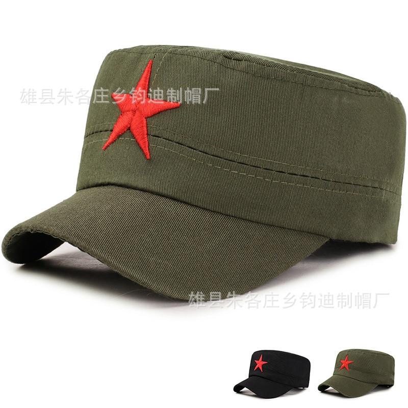 Fashion Flat Cap Red Scenic Area Tourism Souvenirs Cotton Five-pointed Star Outdoor Flat Cap Manufacturers Wholesale