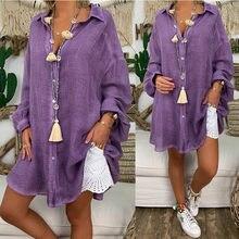 Casual Tops y Blusas para mujer de manga larga talla grande cuello mujer ropa de playa de estilo fino de verano camisas Blusas Mujer