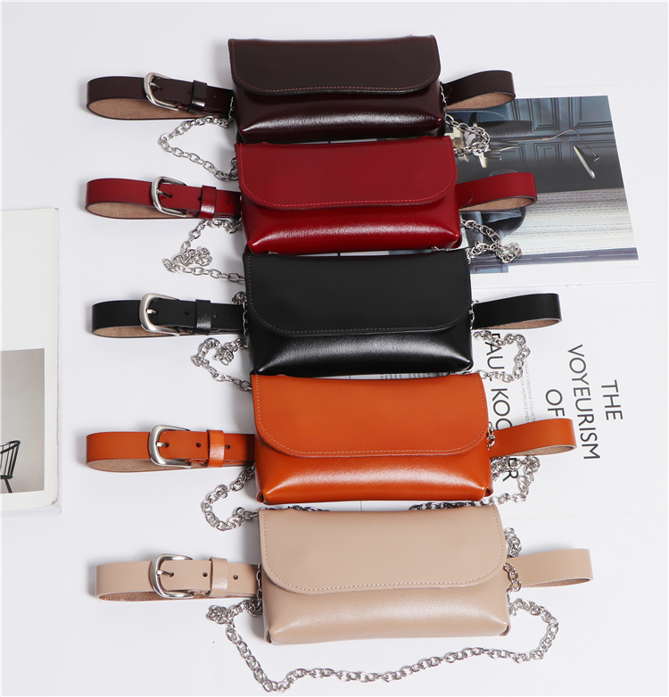 Chic Women Fashion Cow Leather Waist Packs Plus Size Genuine Leather Waist Belts With Phone Bag Chain Messenger Bag Purse Pack