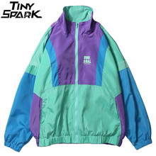 Autumn 2019 Hip Hop Windbreaker Jacket Oversized Mens Harajuku Color Block