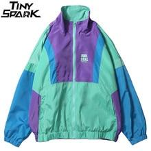 Herfst 2020 Hip Hop Windjack Oversized Mens Harajuku Kleur Blok Jas Jas Retro Vintage Zip Track Jacket Streetwear