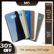 10 PCS ใหม่ S7 สำหรับ Samsung Galaxy S7 G930F / S7 EDGE G935F ฝาครอบด้านหลังฝาครอบด้านหลังแก้วกรณี