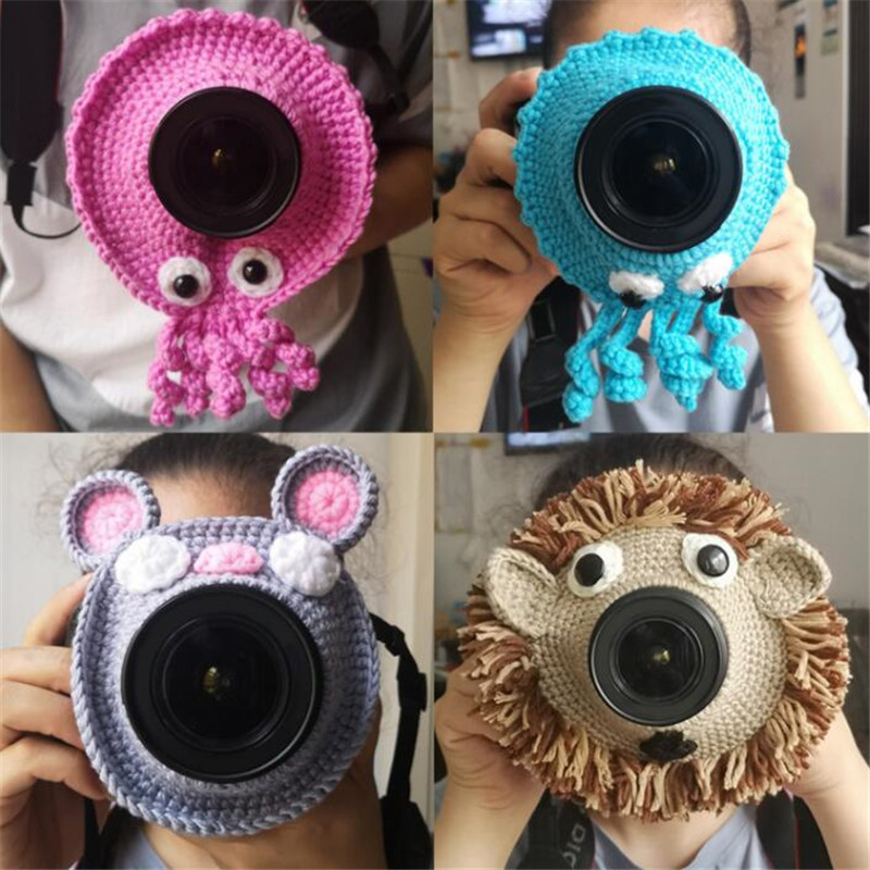 Photography Accessories Props Animal Camera Buddies Hand Knitted Camera Lens Decorative Ring For Baby Pet Photo Guide Doll Toys