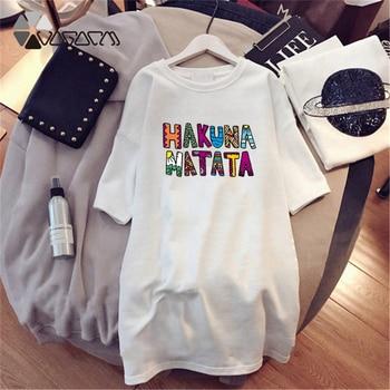 Women Dresses NEVER Series Letter Plus Size Black Mini Dress Loose Summer Long T Shirt Casual Clothes Femme Tops White Sukienka 86