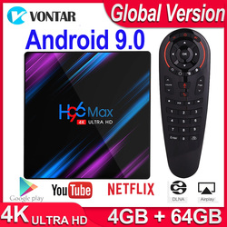 H96 MAX RK3318 4K Smart tv Box Android 9,0 Android tv BOX 4 Гб ram 64 Гб rom Google голосовой помощник Play Store Netflix Youtube 4K