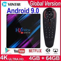 H96 MAX RK3318 4K Dispositivo de TV inteligente Android 9,0 Android TV BOX 4GB RAM 64GB ROM reproductor de medios H96MAX 2G 16G PlayStore de Netflix, Youtube