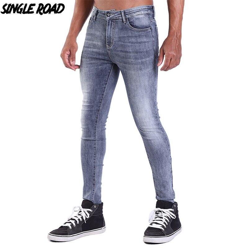 SingleRoad Men's Super Skinny Jeans Men Fashion Denim Pants Man Elastic Waist Black Mens Brand Slim Stretch Jeans Skinny Male