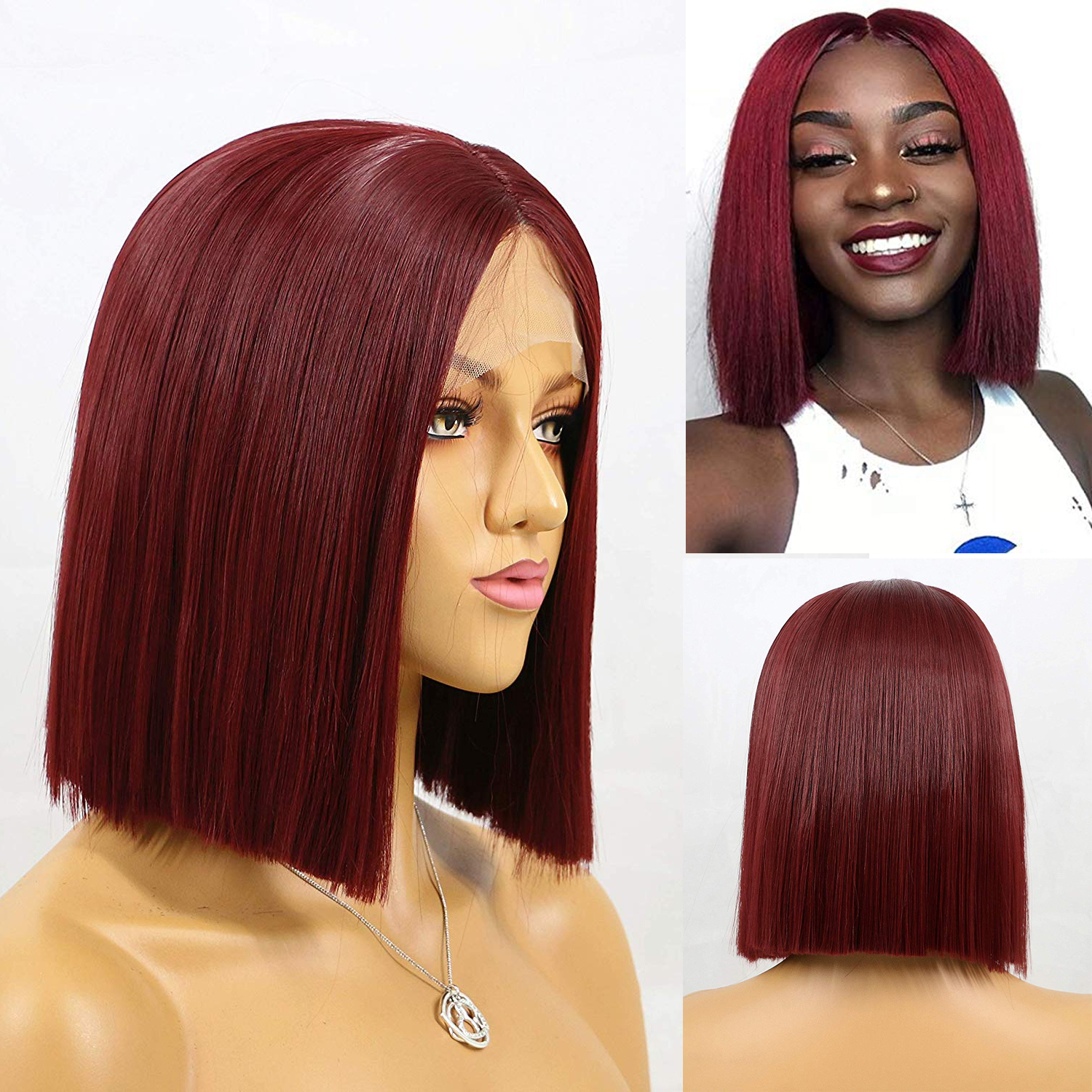 Aimeya Dark Red Short Hair Wigs Middle Part Synthetic Straight Bob Lace Front Wigs For Women Heat Resistant Fiber Hair Wigs Synthetic None Lace Wigs Aliexpress
