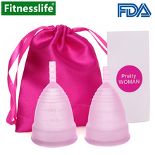2pcs Medical Silicone Menstrual Cup Feminine Hygiene Silicone Cup Menstrual Colletor Copita Menstrual Period Cup Lady Women Cup reusable soft cup silicone menstrual cup big and small sizes three colors women hygiene health care supplies