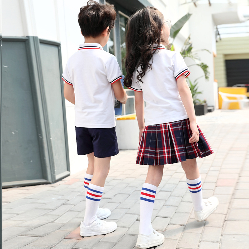 School Uniform Customization Young STUDENT'S Summer Wear Sports School Uniform Set Kindergarten Suit Summer Kindergarten Graduat