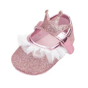 Baby Shoes Girls Infant First Walkers for Newborn  Soft Sole Non-Slip Crown Princess Mesh Decoration Shoes 0-24M Newborn Gifts