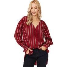 цены на 2019 New Women Blouses Autumn Striped V-neck Long Sleeve Loose Shirt See Through Top Women Sexy Shirt Blusa Feminina Women Tops  в интернет-магазинах