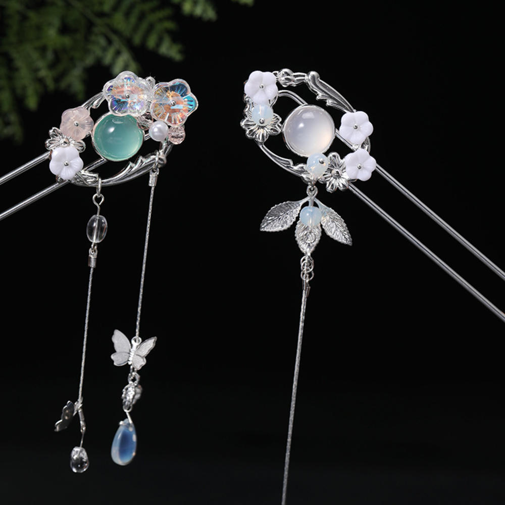 Horquilla Vintage de borla de perlas Hanfu, accesorios para el cabello tradicional chino de Drama, sombreros de flores, Oriental