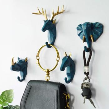 Hak do zawieszania na ścianie Vintage głowa jelenia poroża słoń brelok wiszące nad drzwiami Cap stojaki wieszak na płaszcze wystrój pokoju tanie i dobre opinie CN (pochodzenie) Z gumy silikonowej Zwierząt Nordic Deer horse elephant rhino sticky hooks for wall purse hook ganchos de ropa ahorro de espacio