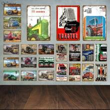 Фермерский трактор, металлические знаки, табличка, винтажный жестяной знак, металлический плакат, Настенный декор для гаража, бара, паба, му...