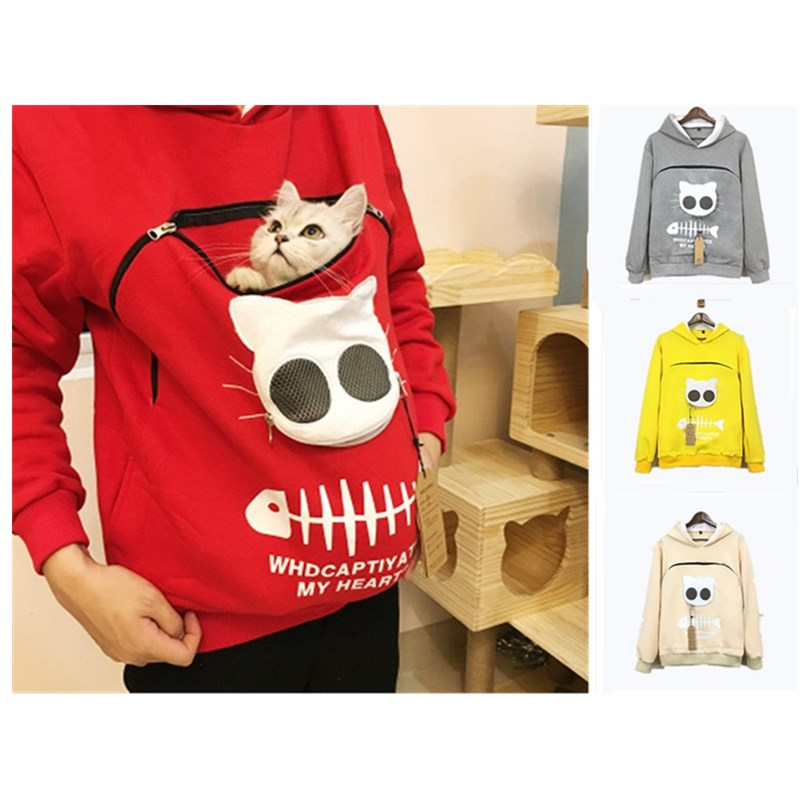 Creative Cat Lovers Hoodie Women's Sweatshirt Animal Pouch Hood Tops Women Casual  Pullover Sweatshirts For Ladies Hoodie