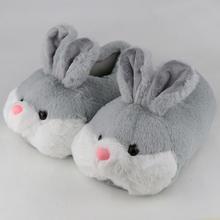 Симпатичные женские тапочки с мехом кролика из флока короткие