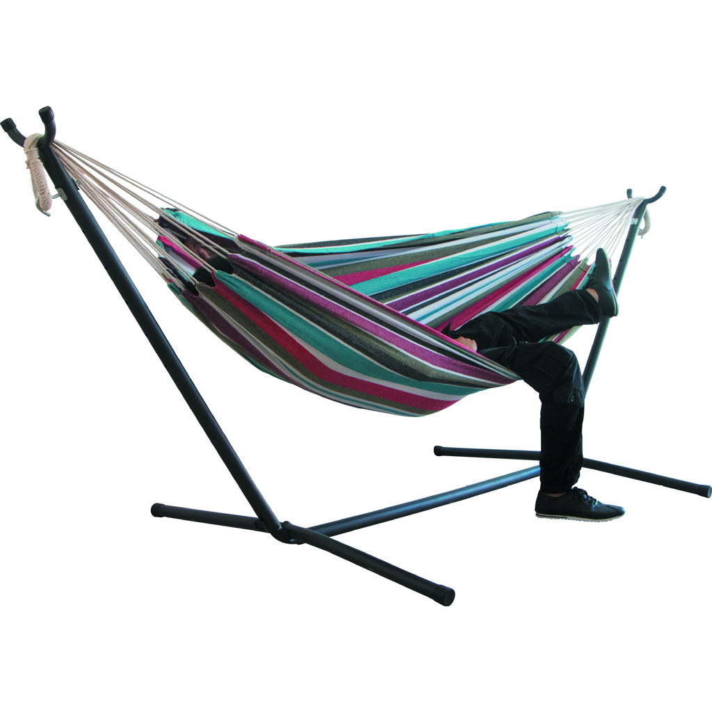 Two-person Hammock Camping Thicken Swinging Chair Outdoor Hanging Bed Canvas Rocking Chair Not with Hammock Stand 200*150cm #40