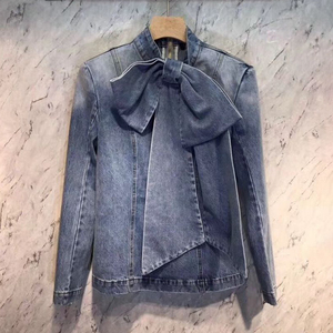 Image 2 - TWOTWINSTYLE Vintage Bowknot Denim Shirts Frauen Bogen Kragen Langarm Dünne Spitze Up Blusen Tops Weibliche 2020 Mode Flut