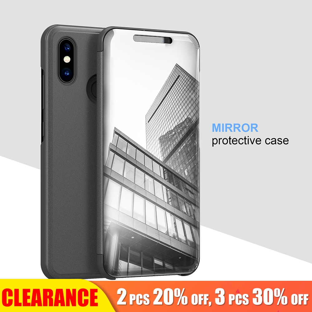 [Clearance] For Xiaomi 6 Case Clear View Mirror Shockproof Luxyry Full Cover Smart Case For Redmi Note 5 Flip Full Cover Cases