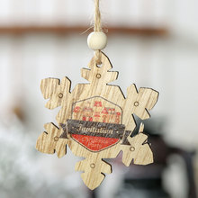 Christmas Tree Tag Home Decorations Wooden English Letters Snowflake Pendant Creative Painted 2Pcs