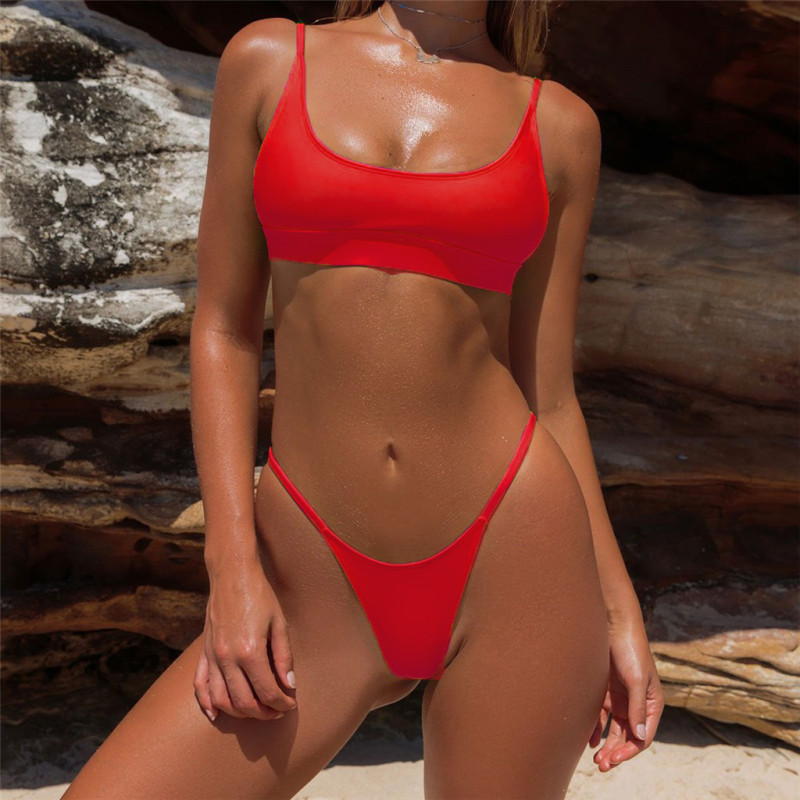 Sexy Triangle Bikini Set New Women Solid Bathing Suit Swimwear Summer Beach Wear Female Low Waist Red Swimsuit Biquini 2