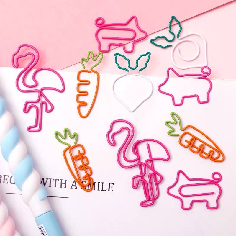 10pcs/lot Kawaii Animal Flamingo Carrot Metal Paper Clip Decorative Bookmark Photo Message Cards Clips School Stationery
