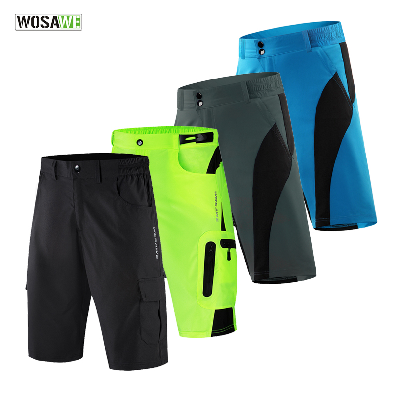 WOSAWE Baggy Cycling Shorts MTB Mountain Bike Loose-fit Padded Short Adjustable Waists Road Bike Short Trousers