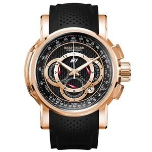 Image 1 - Спортивные часы Reef Tiger/RT от топ дизайнера, мужские кварцевые часы с хронографом из розового золота с датой, RGA3063, 2020