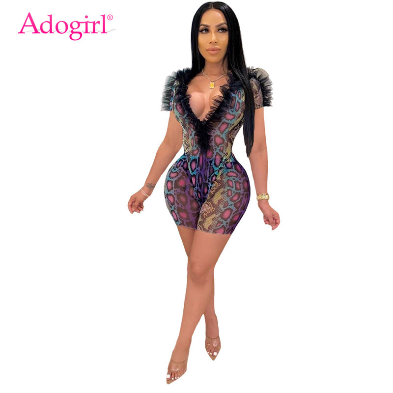 Adogirl Snakeskin Print Sheer Mesh Ruffle Two Piece Set Jumpsuit Sexy Deep V Neck Short Sleeve Bodysuit Top Shorts Playsuit