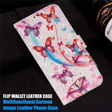 3D Wallet Cases For Huawei Y6 Y7 Y9 2019 Cartoon Soft TPU Flip Leather Cover P30 Pro Lite Honor 8a Painting Phone Case