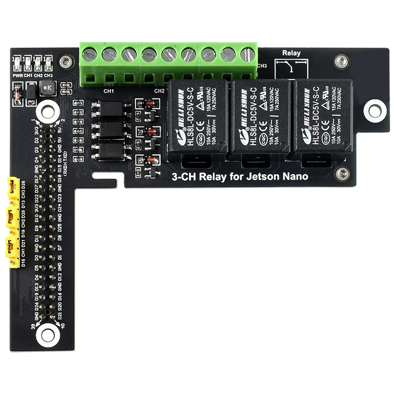 3-Ch Relay Expansion Board Designed for Jetson Nano,3 Channels Relay Control,Configurable Control Pin,Up to 2X Stackable