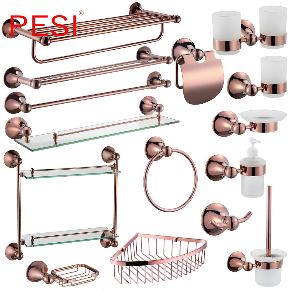 Bathroom Accessories Hardware Set Robe Coat Hook Towel Ring Rail Rack Bar Shelf Paper Holder Toothbrush Holder ,Rose Gold. image